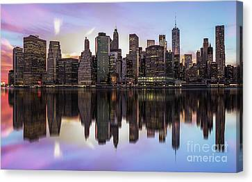 Reflections Of A Sleepless City Canvas Print