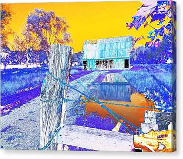 Reflections Of An Old Barn Abstract Canvas Print