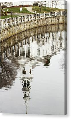 Reflections Of Church Canvas Print by Karol Livote