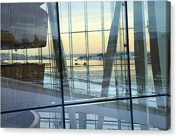 Canvas Print featuring the photograph Reflections Of Oslo by David Chandler