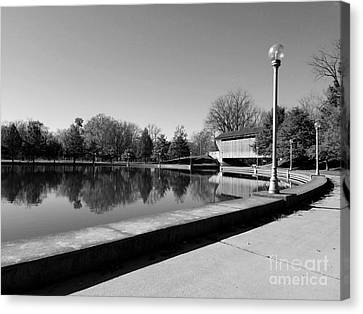 Southern Indiana Autumn Canvas Print - Reflections Of Round Lake - Black And White by Scott D Van Osdol