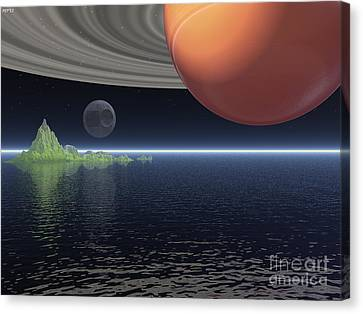 Canvas Print featuring the digital art Reflections Of Saturn by Phil Perkins