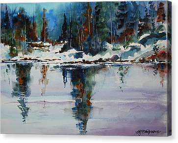 Reflections On A Frozen Pond Canvas Print by Wilfred McOstrich