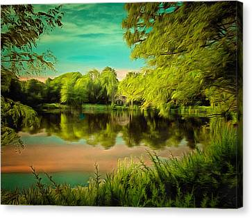 Reflections On A Pond Canvas Print