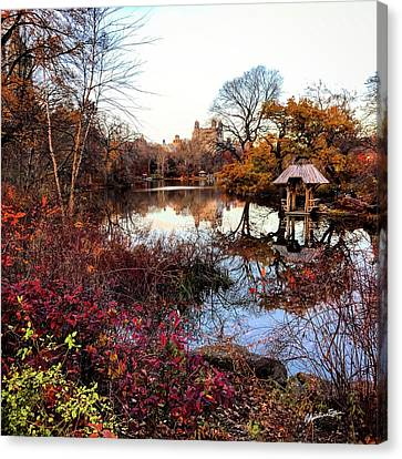 Canvas Print featuring the photograph Reflections On A Winter Day - Central Park by Madeline Ellis