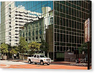 Reflections On Fort Worth Canvas Print by Christian Hallweger