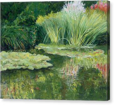 Reflections On Monets Lily Pond Canvas Print by Tara Moorman