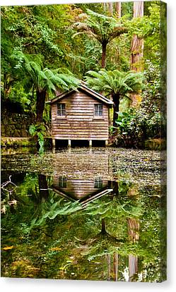 Sheds Canvas Print - Reflections On The Pond by Az Jackson