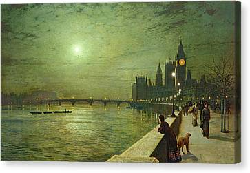 Oil Lamp Canvas Print - Reflections On The Thames by John Atkinson Grimshaw