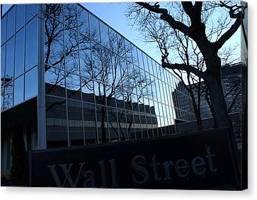 Reflections On Wall Street Canvas Print by Lois Lepisto