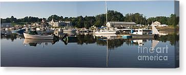 Canvas Print featuring the photograph Reflections On Yarmouth Harbor by David Bishop