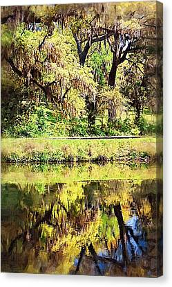 Canvas Print featuring the photograph Reflective Live Oaks by Donna Bentley