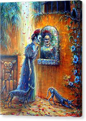Canvas Print featuring the painting Reflejo De Frida by Heather Calderon