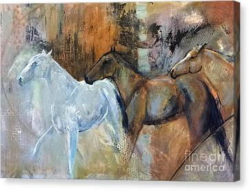Canvas Print featuring the painting Reflextion Of The White Horse by Frances Marino
