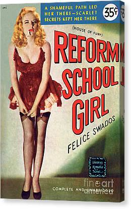 Canvas Print featuring the painting Reform School Girl by Photo Cover