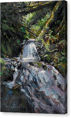 Canvas Print featuring the painting Refreshed - Rainforest Waterfall Impressionistic Painting by Karen Whitworth