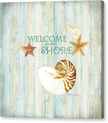 Refreshing Shores - Lighthouse Starfish Nautilus Sand Dollars Over Driftwood Background Canvas Print by Audrey Jeanne Roberts