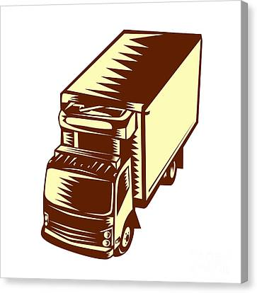 Linocut Canvas Print - Refrigerated Truck Woodcut by Aloysius Patrimonio
