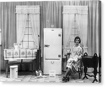 Refrigerator Window Display Canvas Print by Underwood Archives