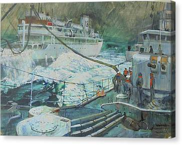 Canvas Print featuring the painting Refuelling At Sea. by Mike Jeffries