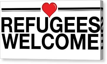 Refugees Wecome Canvas Print by Greg Slocum
