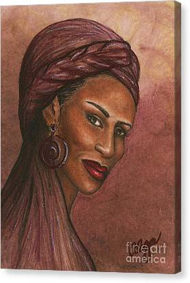Canvas Print featuring the mixed media Regal Lady In Plum by Alga Washington