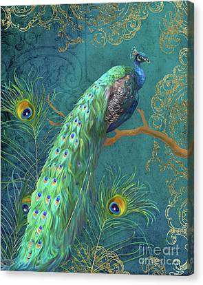 Canvas Print featuring the painting Regal Peacock 3 Midnight by Audrey Jeanne Roberts