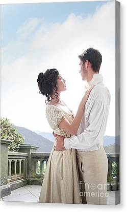 Canvas Print featuring the photograph Regency Couple Embracing On The Terrace by Lee Avison