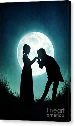 Canvas Print featuring the photograph Regency Couple Silhouetted By The Full Moon by Lee Avison