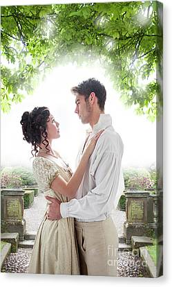 Regency Lovers In The Garden Canvas Print by Lee Avison