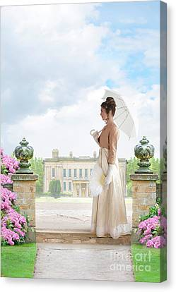 Regency Woman In The Grounds Of A Historic Mansion Canvas Print