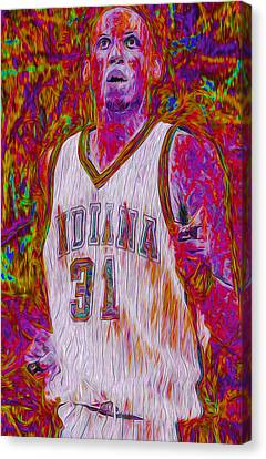 Reggie Miller Nba Basketball Indiana Pacers Painted Digitally Canvas Print by David Haskett