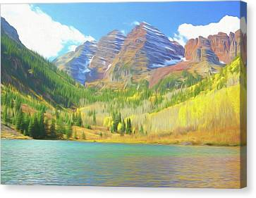 Canvas Print featuring the photograph The Maroon Bells Reimagined 1 by Eric Glaser