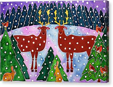 Reindeer And Rabbits Canvas Print by Cathy Baxter