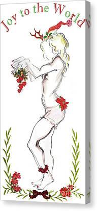 Canvas Print featuring the digital art Reindeer Cupid II - Christmas Cards by Carolyn Weltman