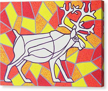 Reindeer On Stained Glass  Canvas Print by Pat Scott