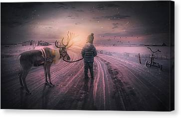 Reindeer Walk Canvas Print