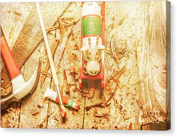 Reindeer With Tools And Wood Shavings Canvas Print by Jorgo Photography - Wall Art Gallery