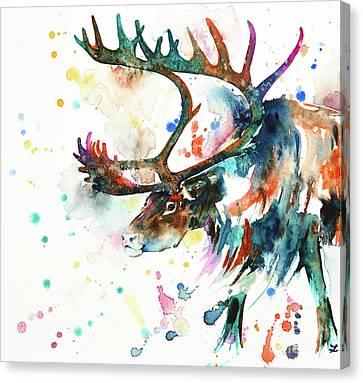 Canvas Print featuring the painting Reindeer by Zaira Dzhaubaeva