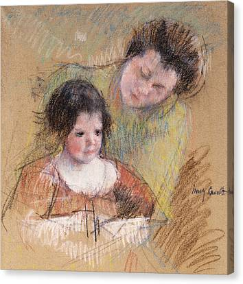 Caring Mother Canvas Print - Reine Leaning Over Margot's Shoulder by Mary Stevenson Cassatt