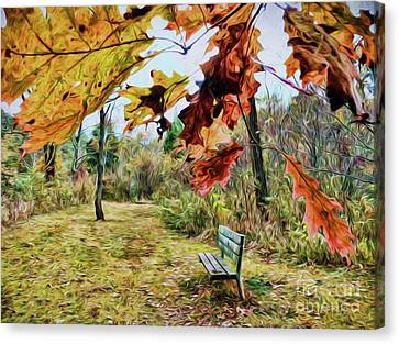 Canvas Print featuring the photograph Relax And Watch The Leaves Turn by Kerri Farley