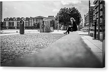 Relax In The City - Dublin, Ireland - Black And White Street Photography Canvas Print