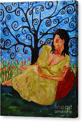 Canvas Print featuring the painting Relax by Reina Resto