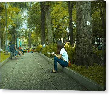 Relaxation By The Park Canvas Print by Dino KF Wong