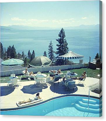 Relaxing At Lake Tahoe Canvas Print by Slim Aarons