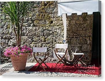 Portofino Cafe Canvas Print - Relaxing In Portofino Italy by Brenda Kean