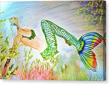 Mermaid Relaxing In The Shallows Canvas Print by ARTography by Pamela Smale Williams