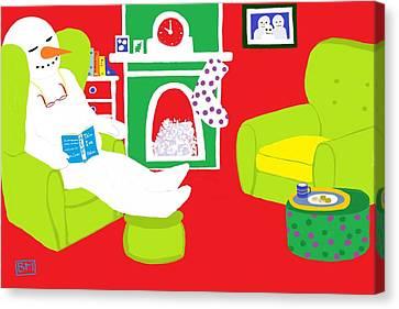 Relaxing Snowman Canvas Print by Barbara Moignard