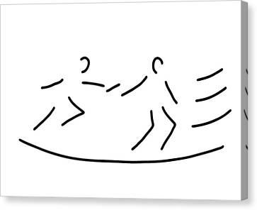 Jogging Canvas Print - Relay Race Athletics Stick by Lineamentum