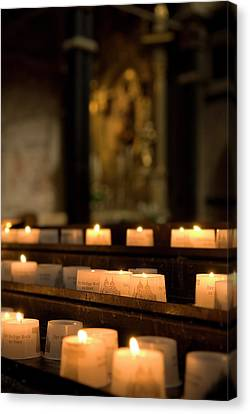 Canvas Print featuring the photograph Religion - Candlelight - Cathedral Of Trier - Christian Church In Antiquity by Urft Valley Art